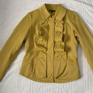 Mustard blazer with ruffle down front size small